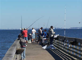 Fishing pier at Bayshore Waterfront Park